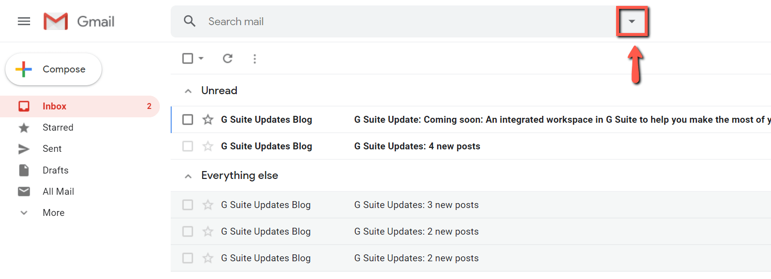 find the gmail advanced search drop-down button